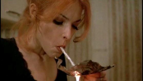 photo of a woman smoking crack