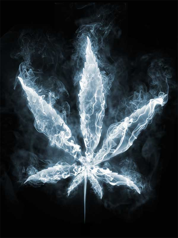 Marijuana Leaf Blue Smoke Effect