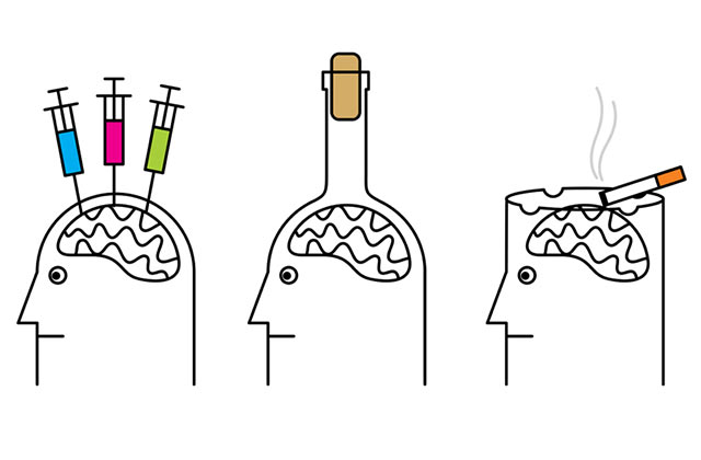 a visual caricature of how does addiction affect the brain