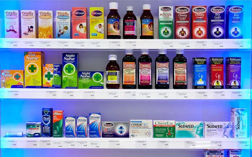 over the counter medicine shelves photo
