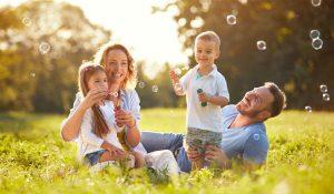 a happy family having fun