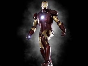 a photo of iron man costume played by robert downey jr marvel